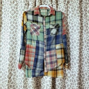 Free People Artisan De Luxe Hi-Low Patched Plaid
